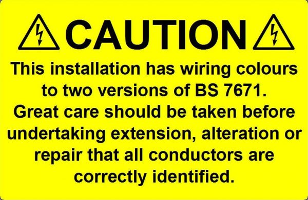 BS7671 Dual Colour Label